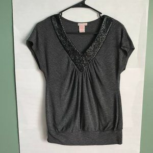Grey knit black sequin top ruched